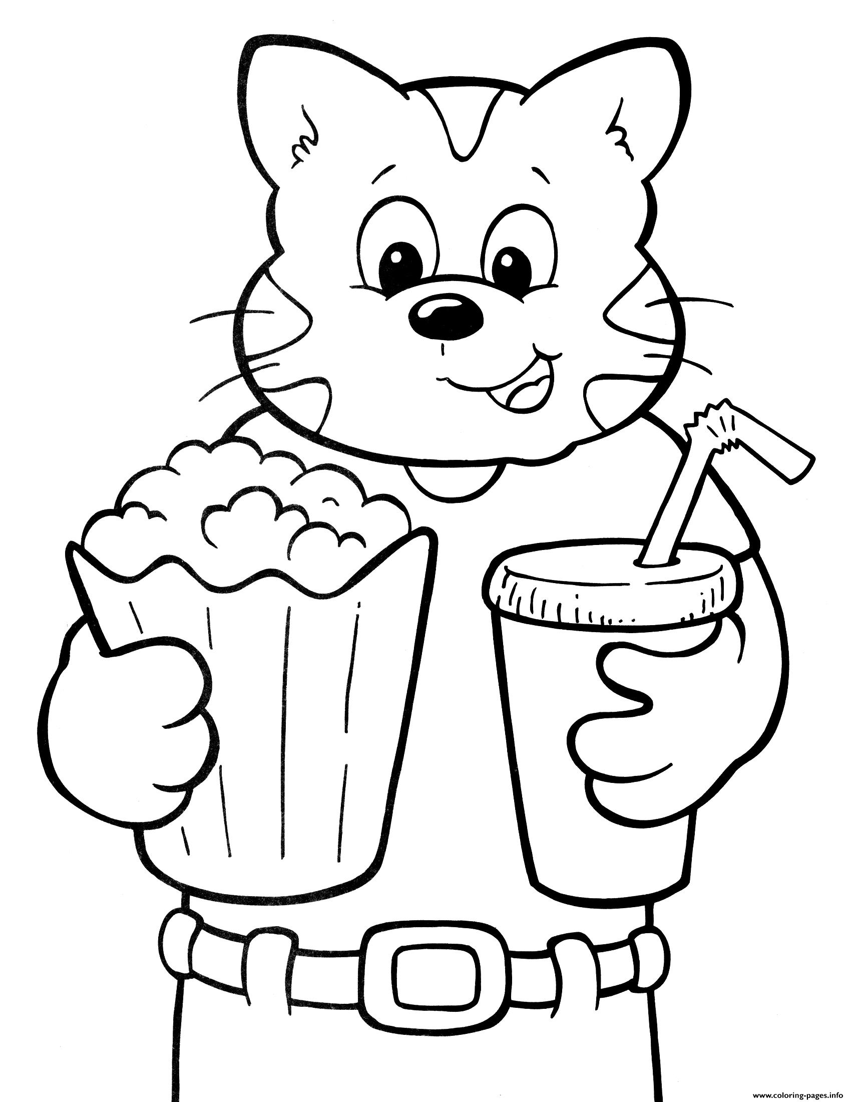 - Cat Ready To Watch Movie Crayola Coloring Pages Printable