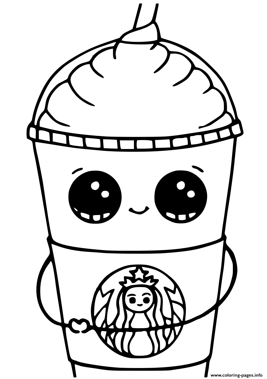 Starbucks Cups Kawaii coloring pages