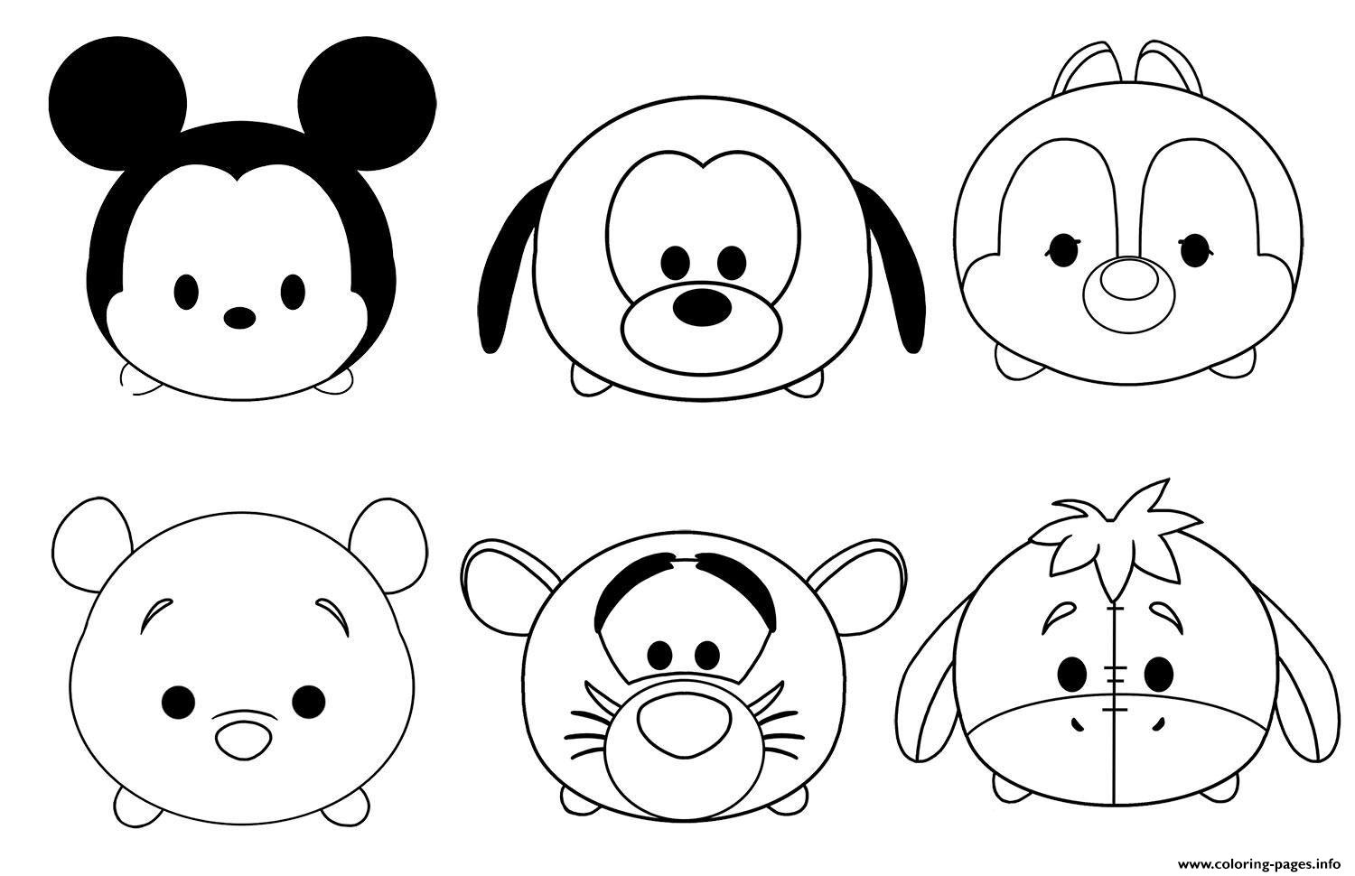 Kawaii Disney Characters Coloring Pages Printable