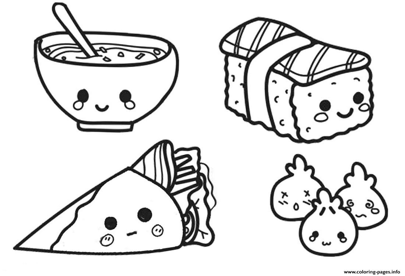 Kawaii Chinese Food Coloring Pages Printable
