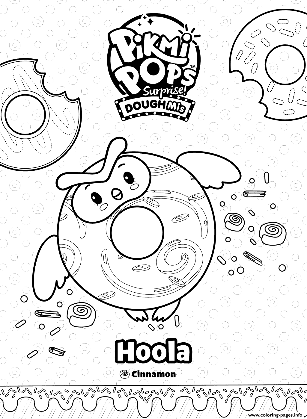 Doughnut Pikmi Pops Hoola The Owl Coloring Pages Printable