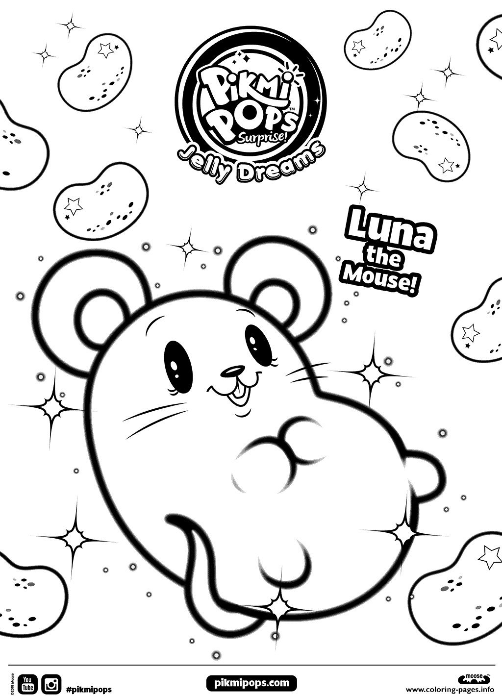 Little Mouse Pikmi Pops Coloring Pages Printable
