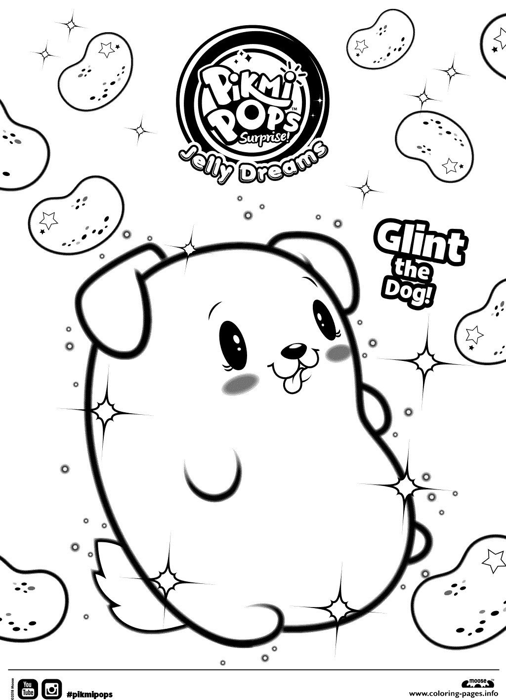 Pikmi Pops Jelly Dreamss Clint The Dog Coloring Pages ...