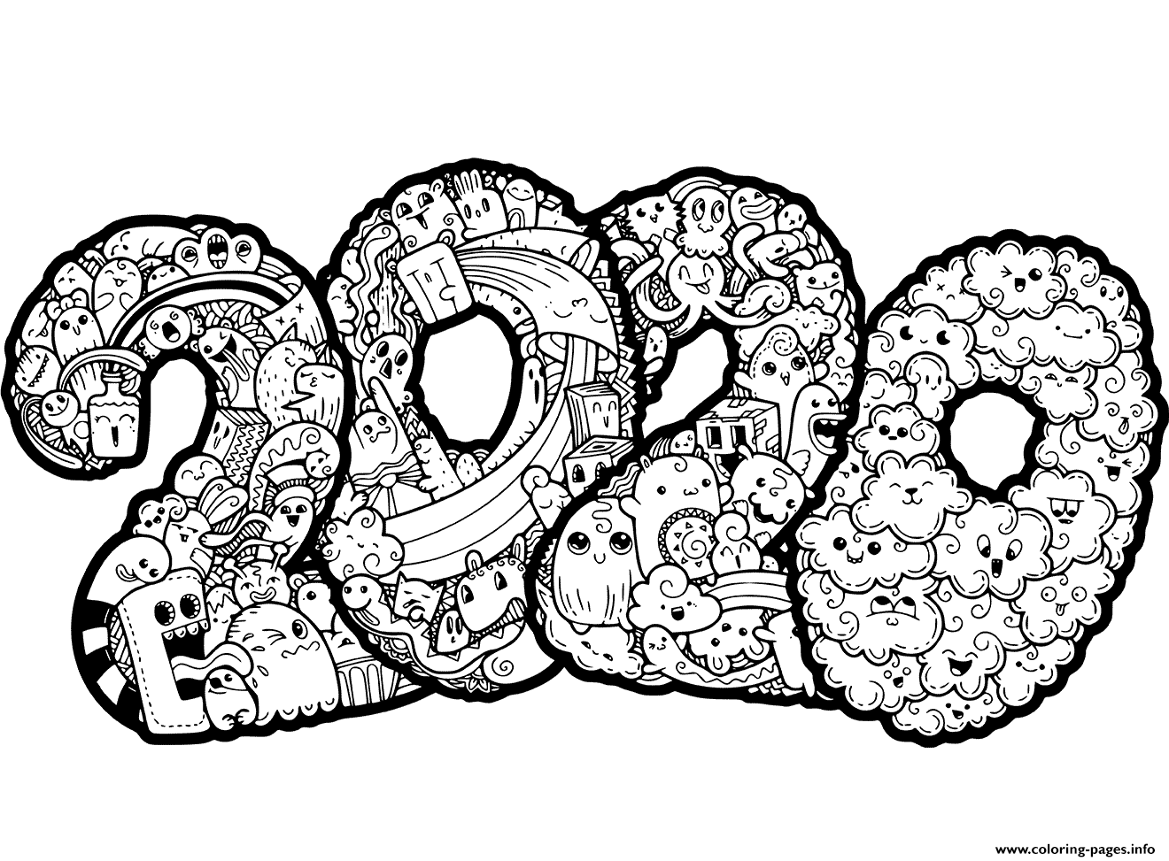 New Year 2020 Doodle coloring pages