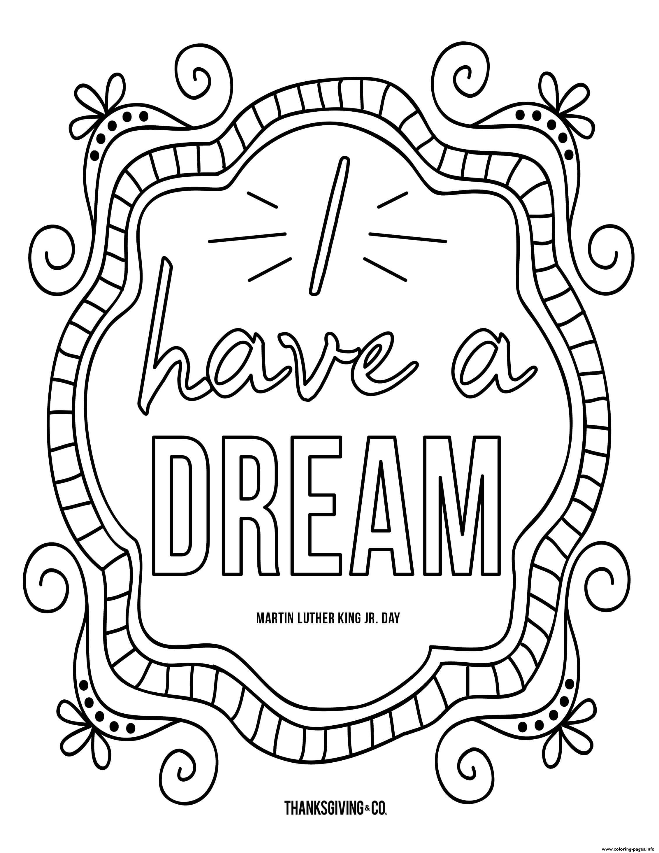 MLK JR I Have A Dream Doodle coloring pages