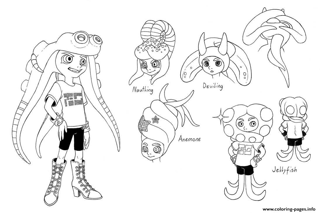 Splatoon Characters Marie Coloring Pages Printable