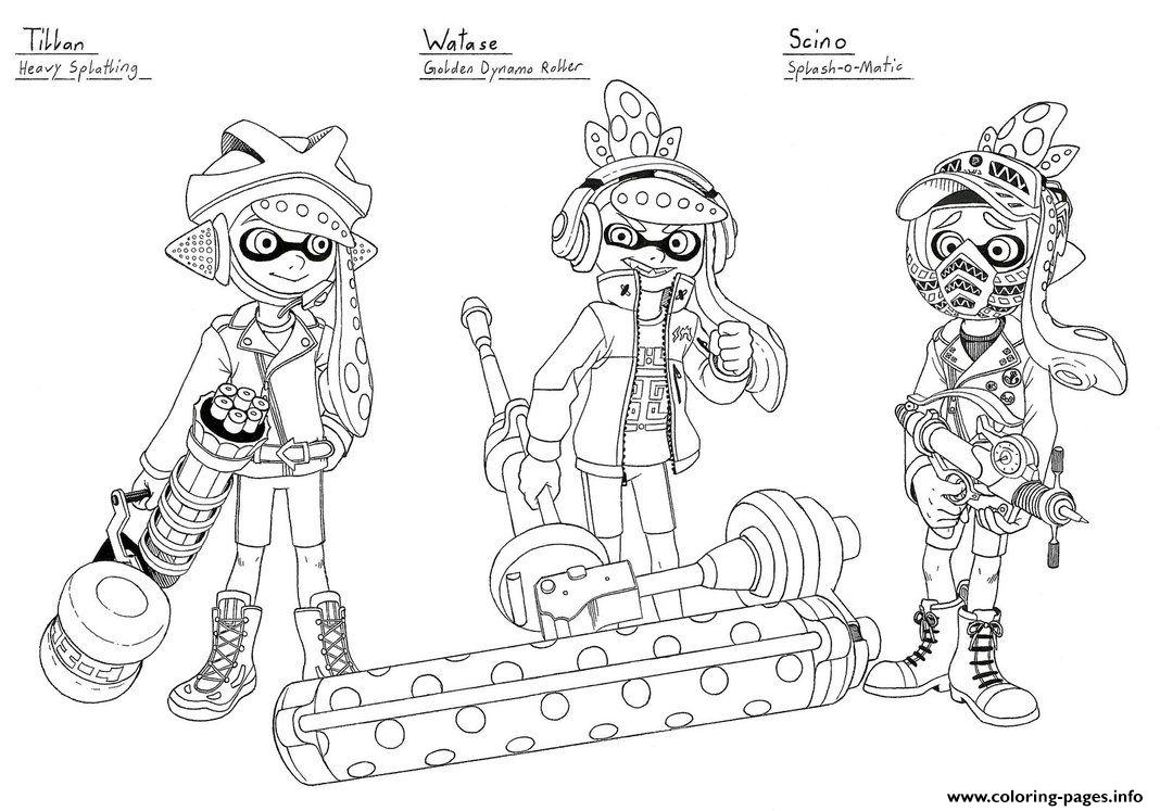Splatoon 2 Inklings Watase Scino coloring pages
