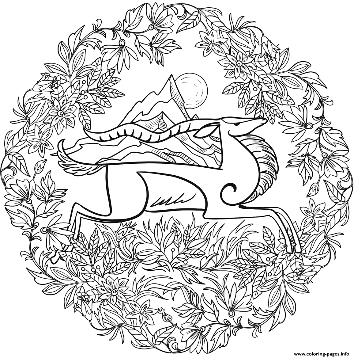 Goat Mandala Animal coloring pages