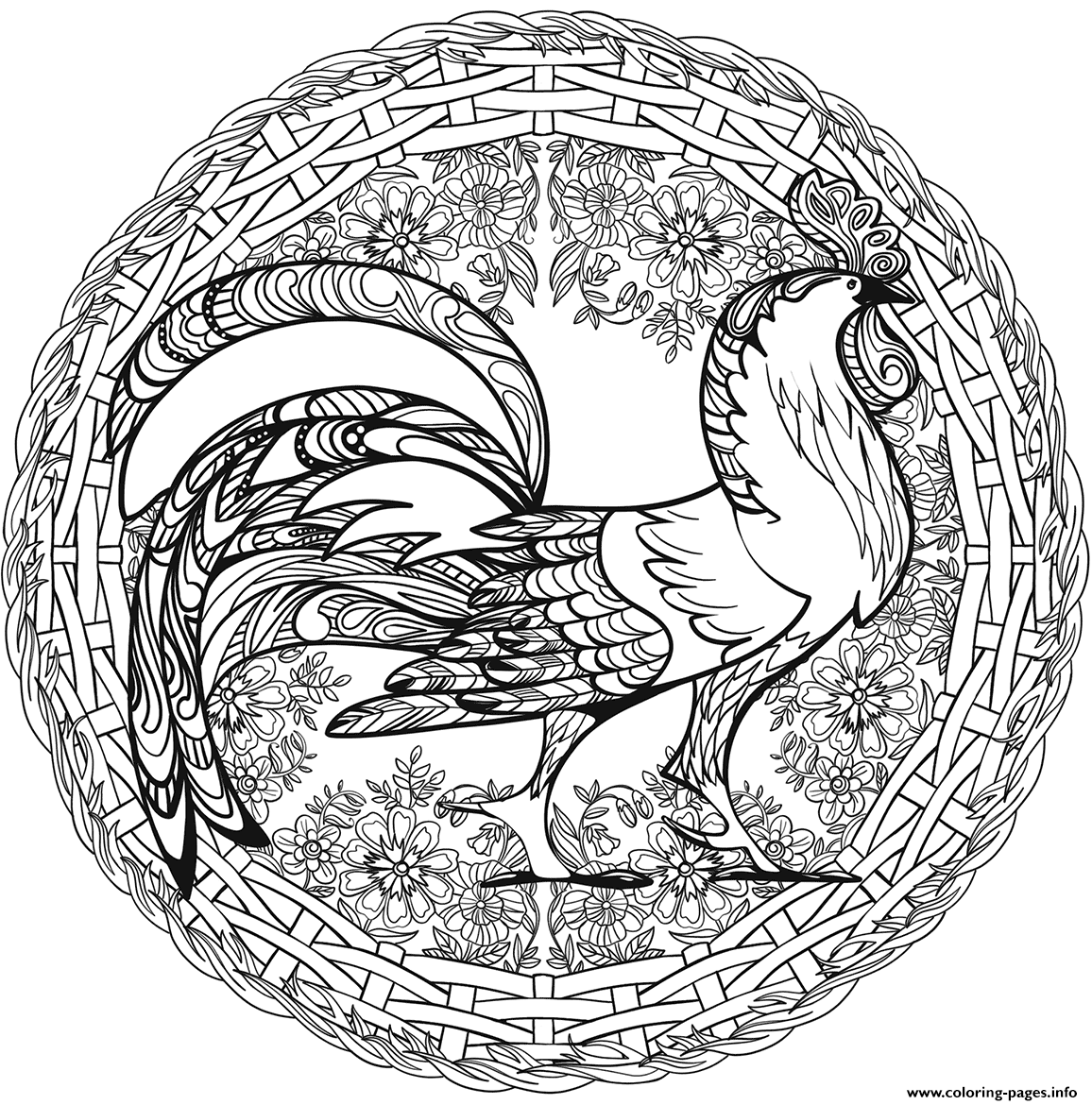 Cock Mandala Animal coloring pages