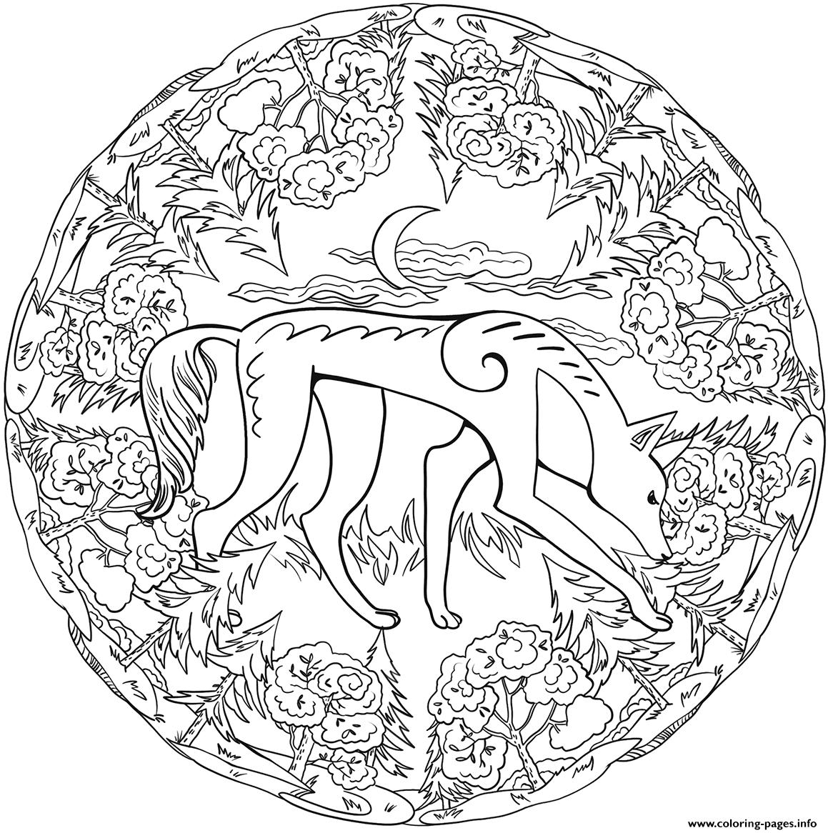 Jackal Mandala Animal Coloring Pages Printable