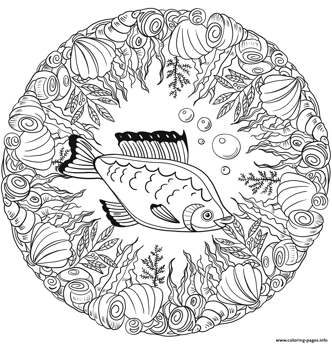 Fish Mandala Animal coloring pages