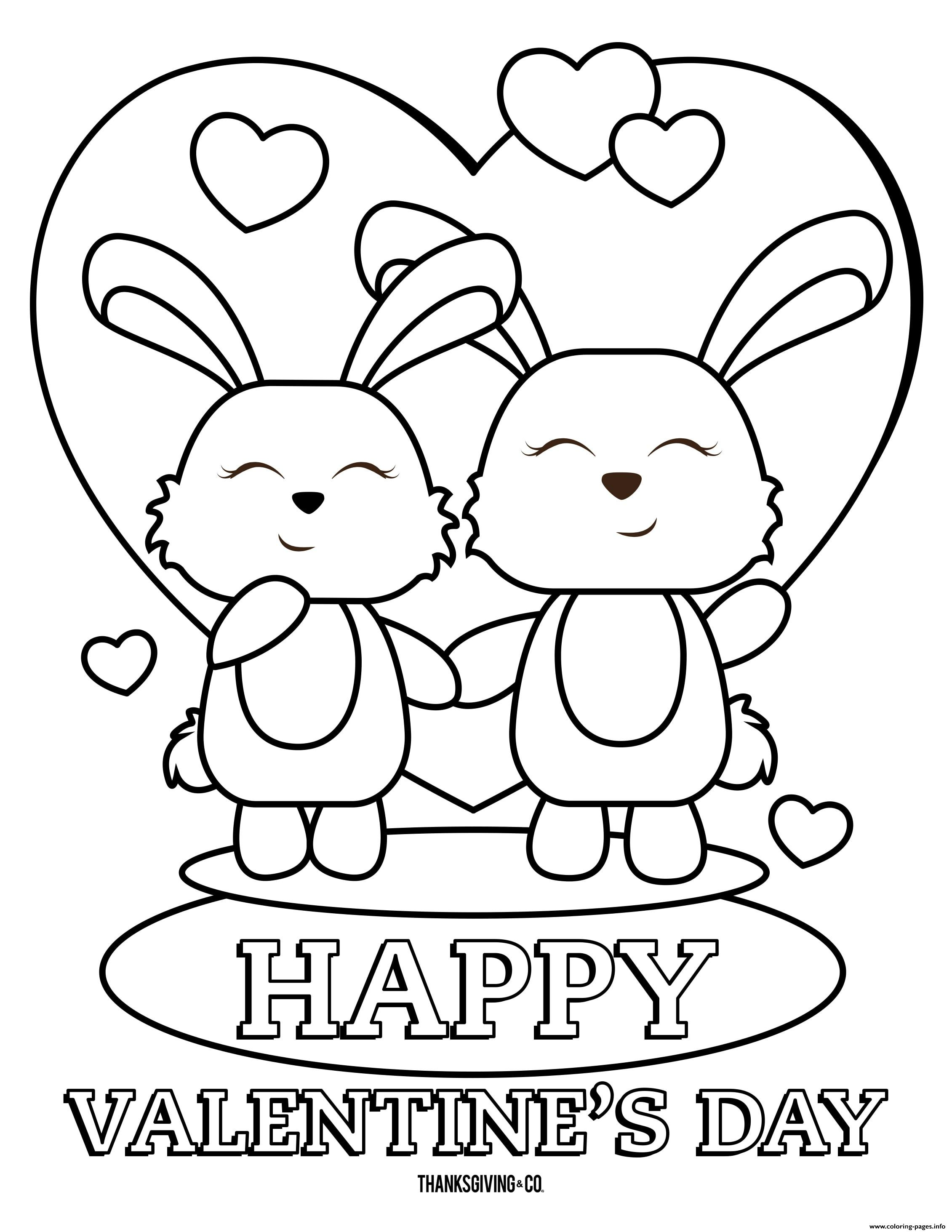 Happy Valentines Day Bunnies Coloring Pages Printable