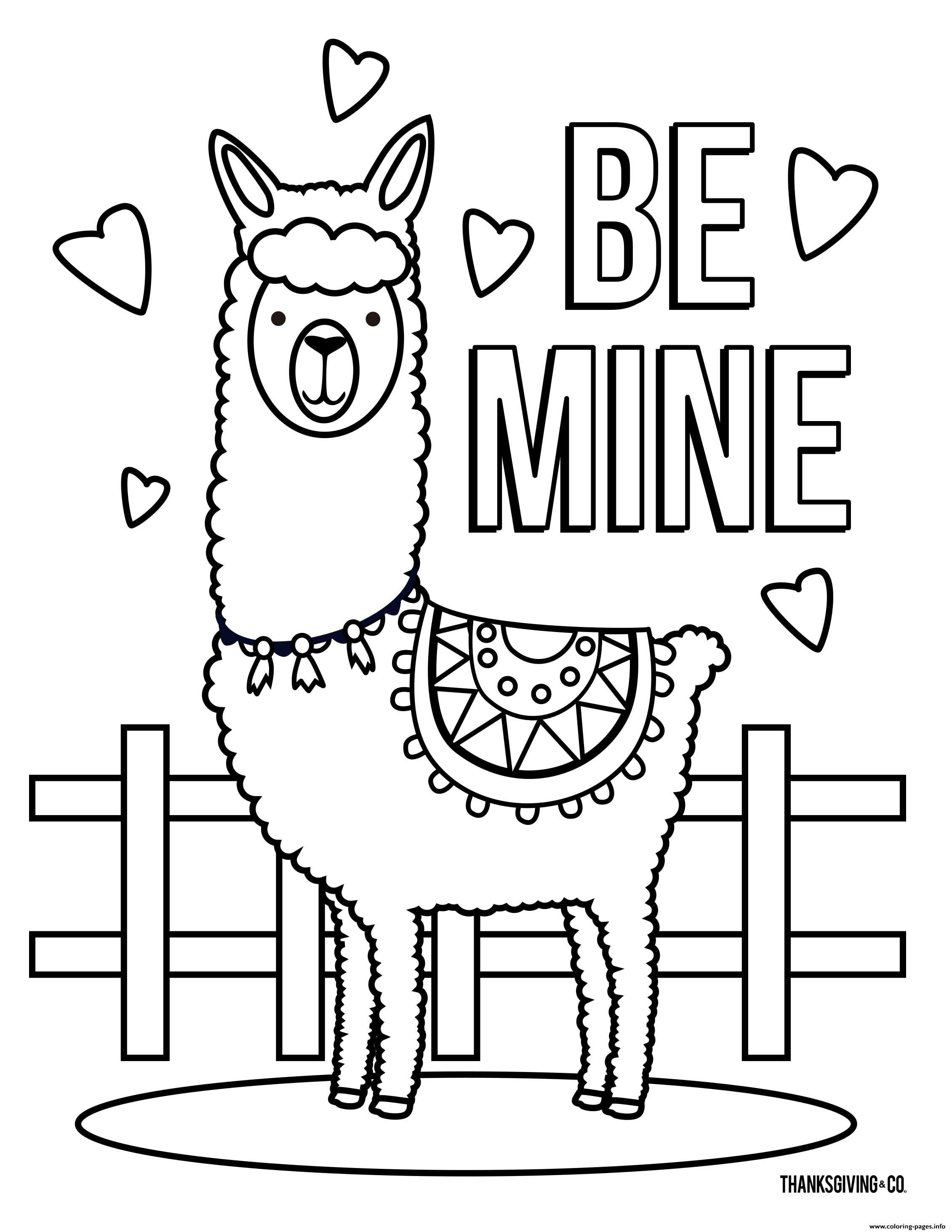 Llama Be Mine Love Coloring Pages Printable