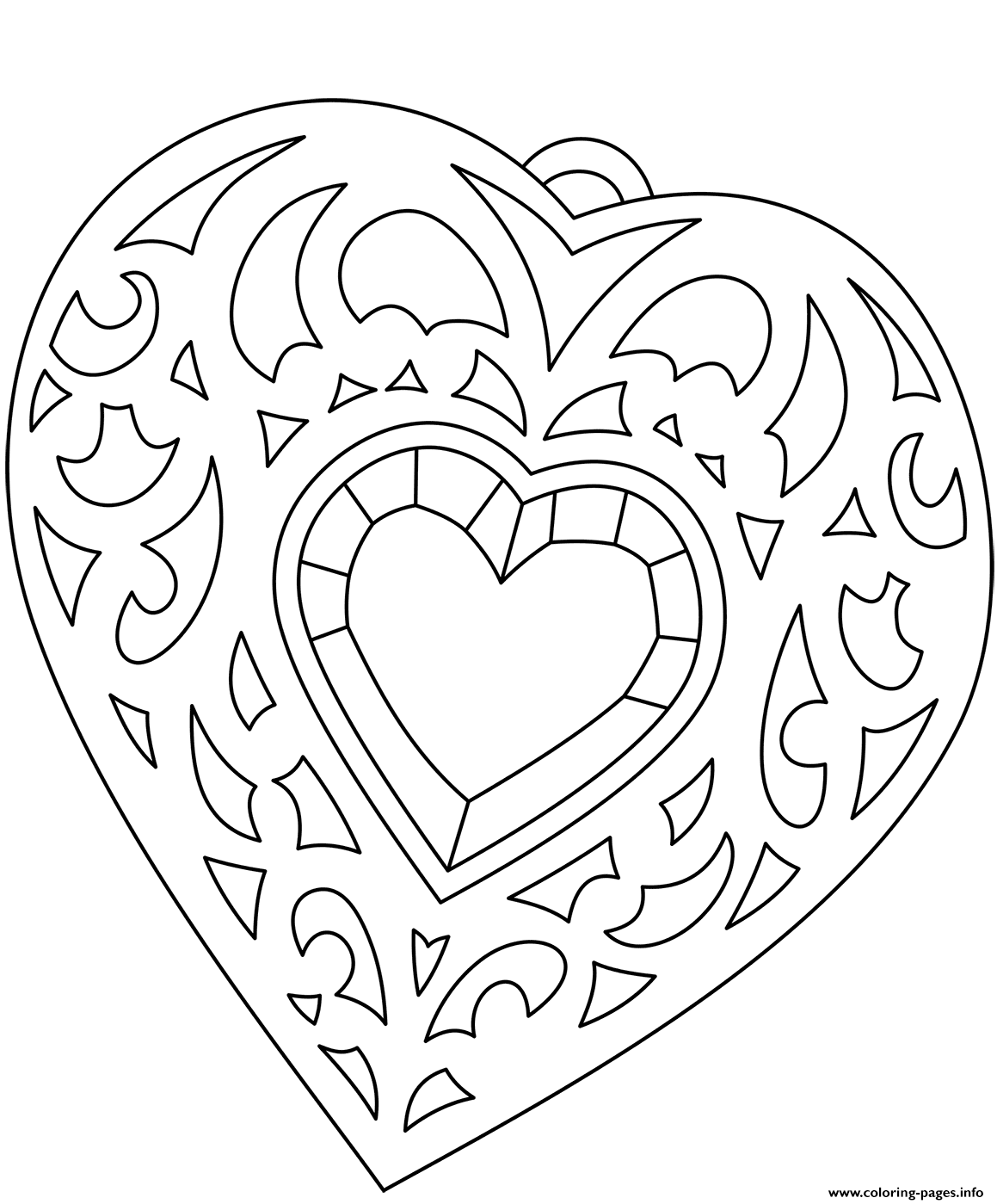 Heart Shaped Medallion coloring pages