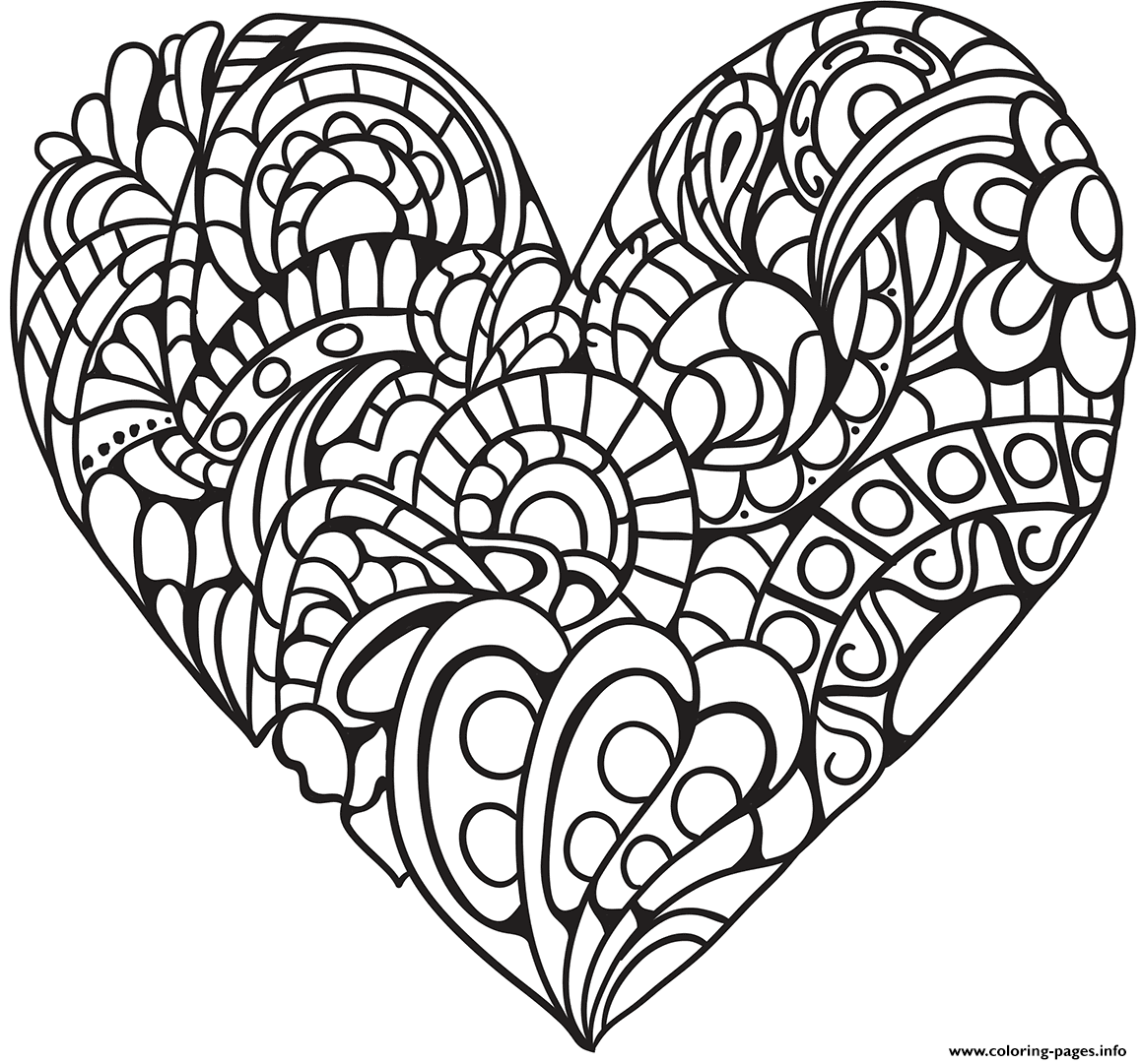 Zentangle Heart For Adult coloring pages