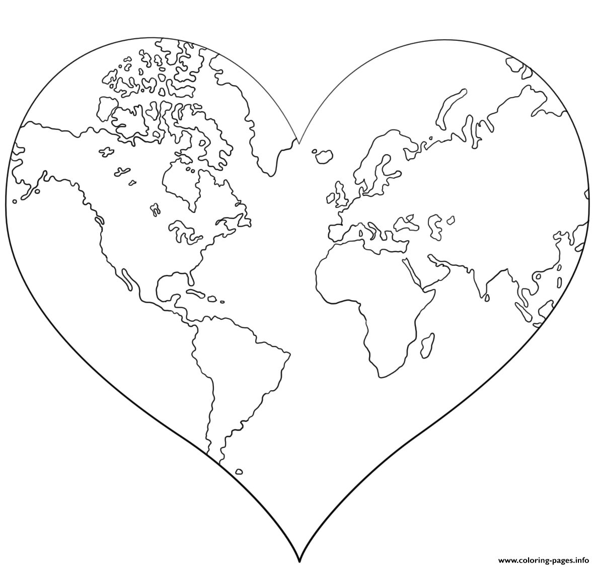 Heart Shaped Earth coloring pages