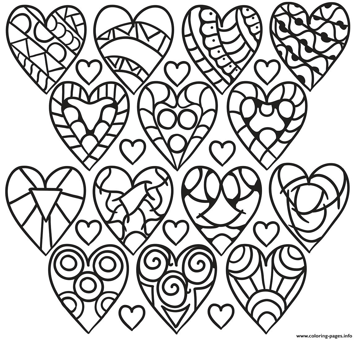 Hearts Pattern coloring pages