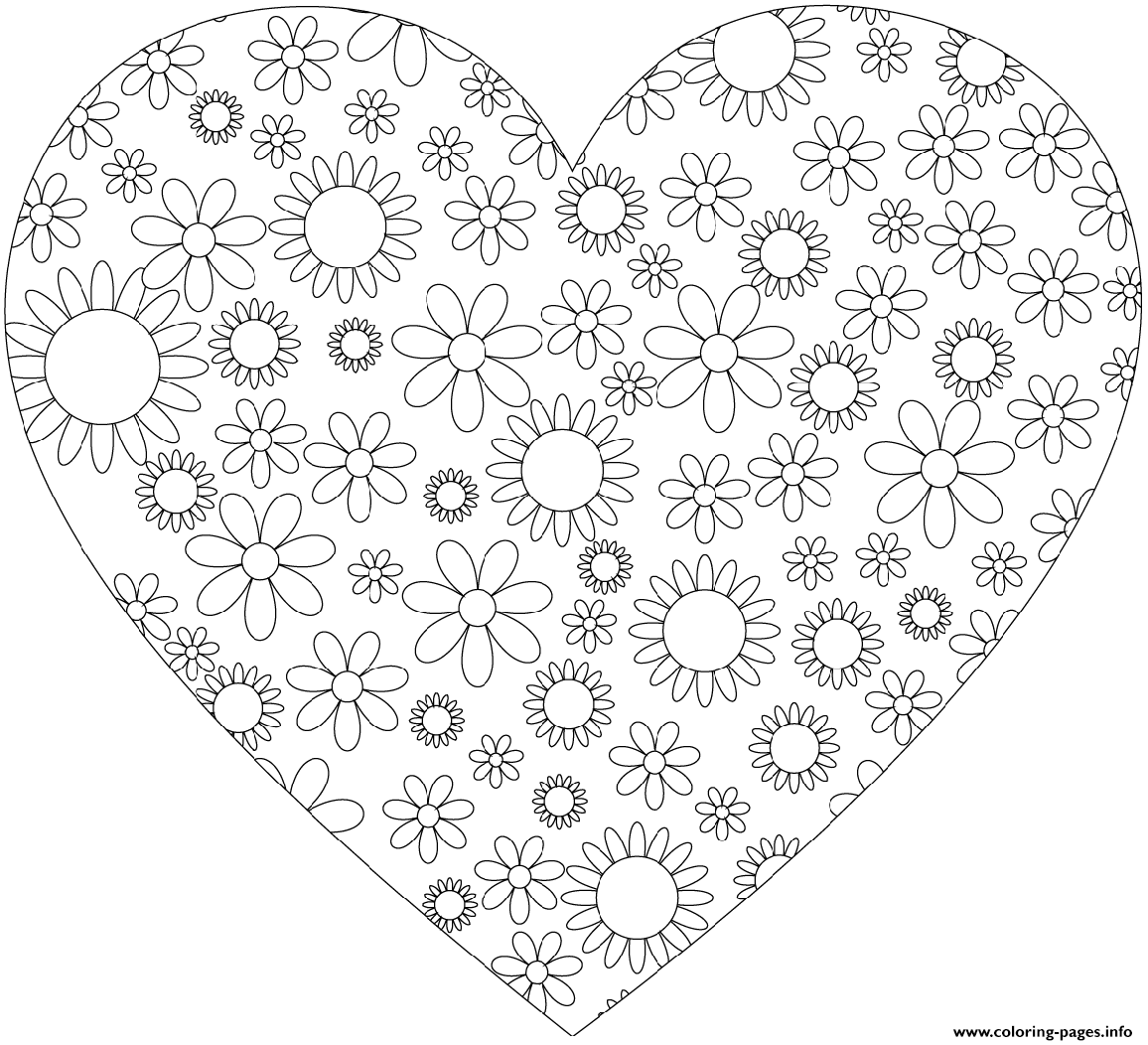 Heart With Flowers coloring pages
