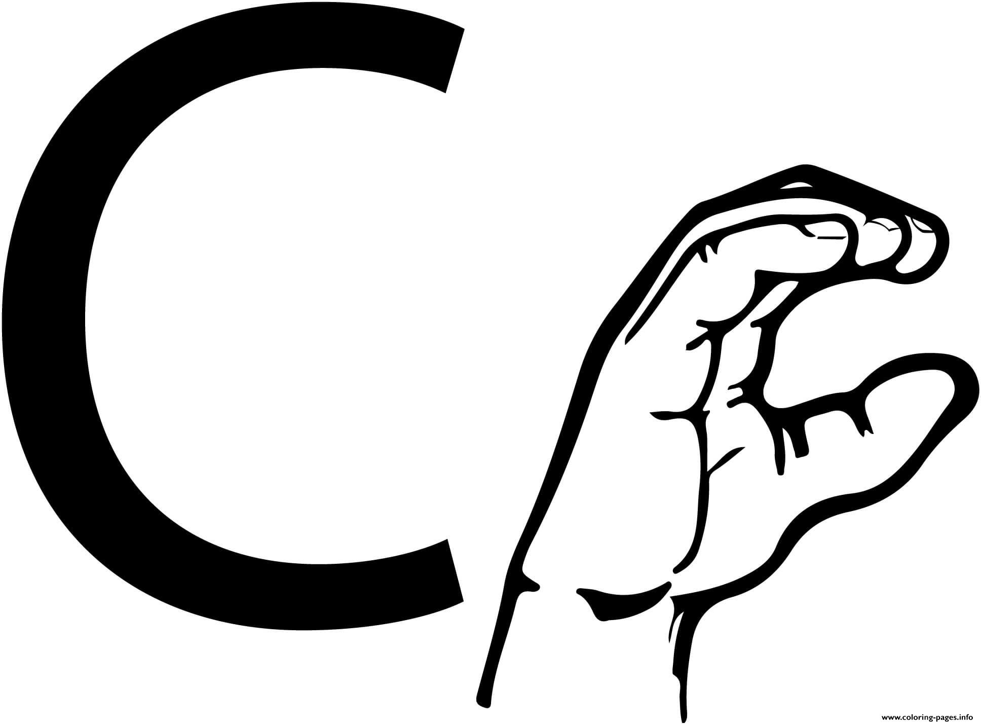 Asl Sign Language Letter C Coloring Pages Printable