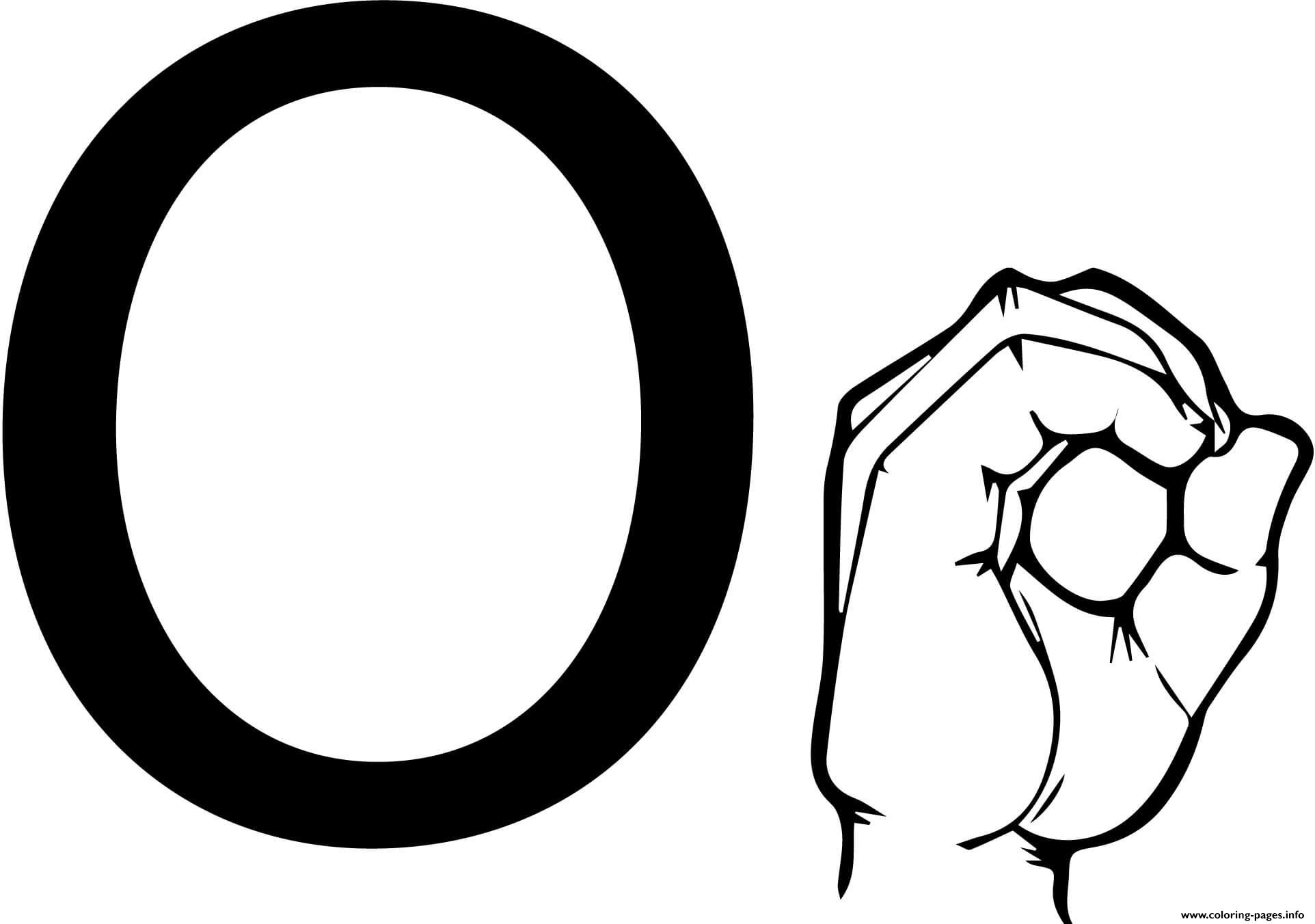 Asl Sign Language Letter O Coloring Pages Printable