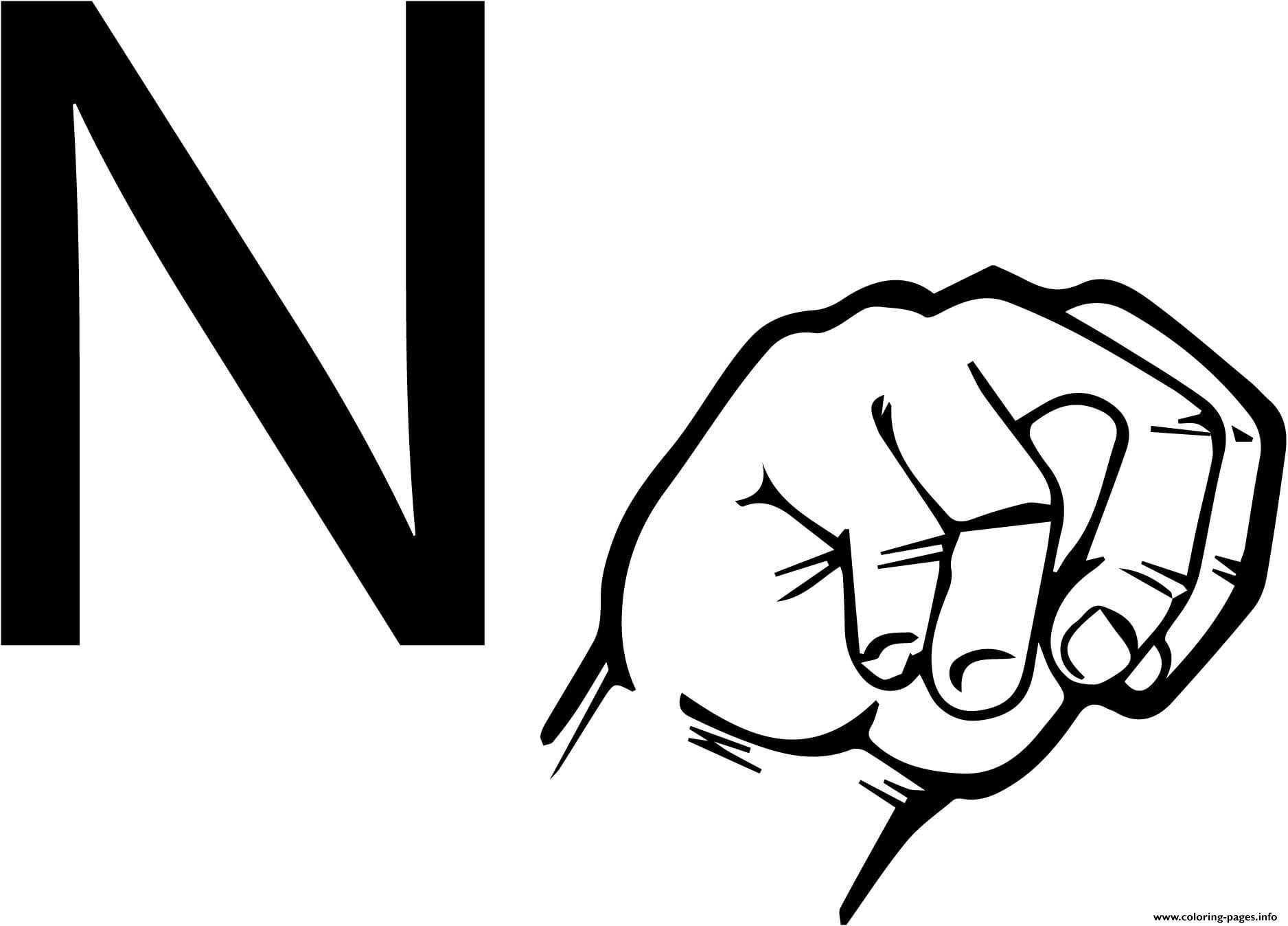 Alfabet Letters Kleurplaten Asl Sign Language Letter N Coloring Pages Printable