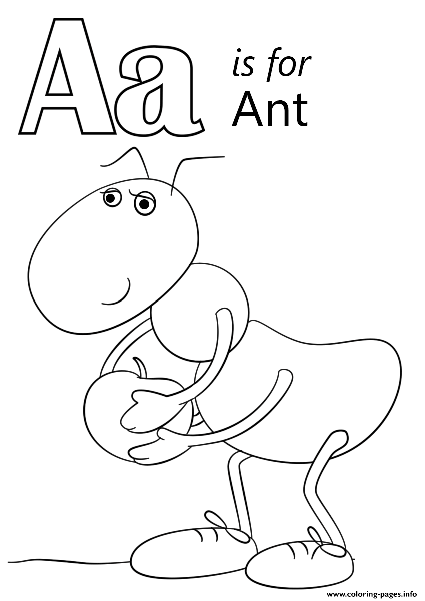 - Letter A Is For Ant Coloring Pages Printable