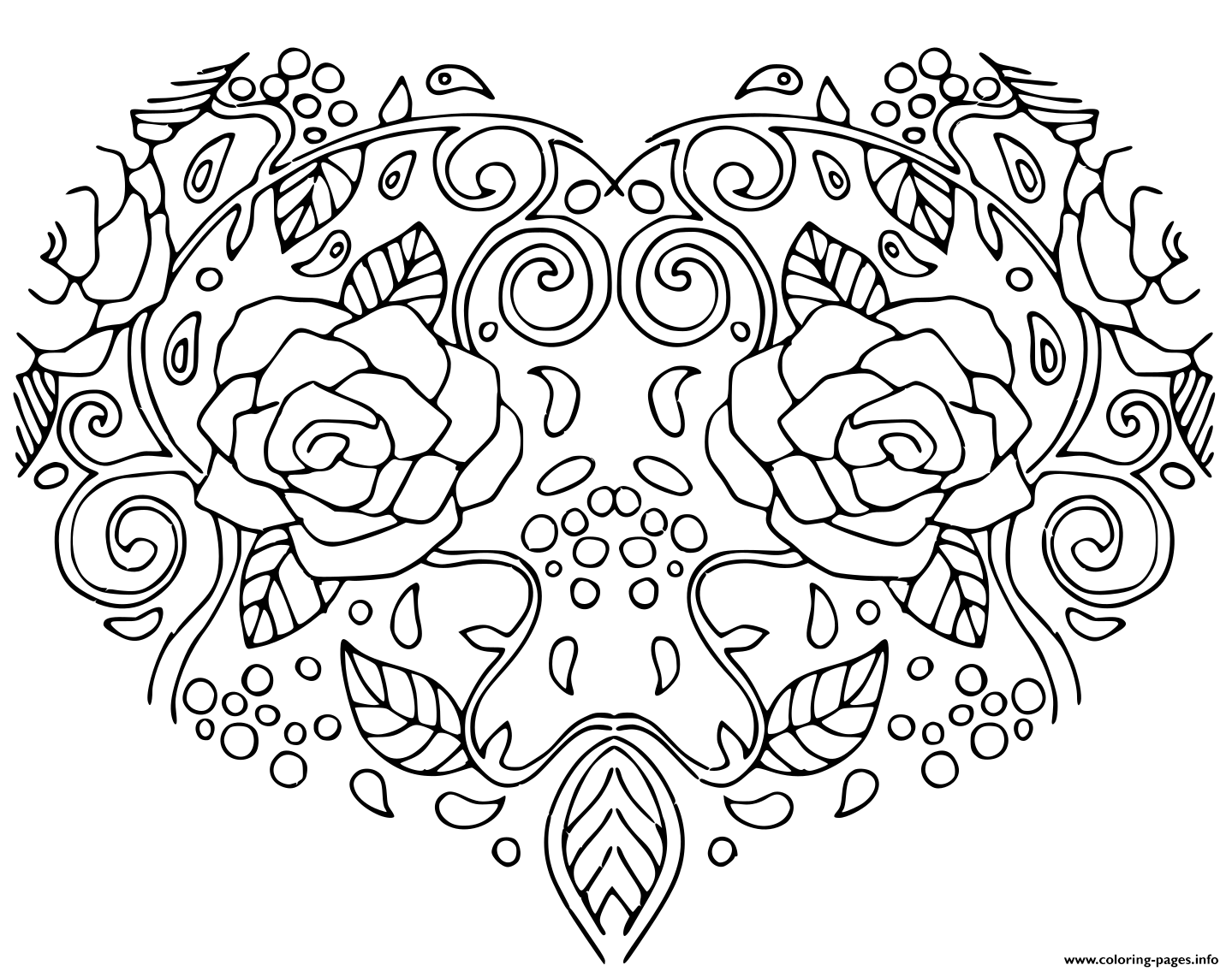 Decorative Love Heart With Flowers Valentines Day Card For Adult And Children coloring pages