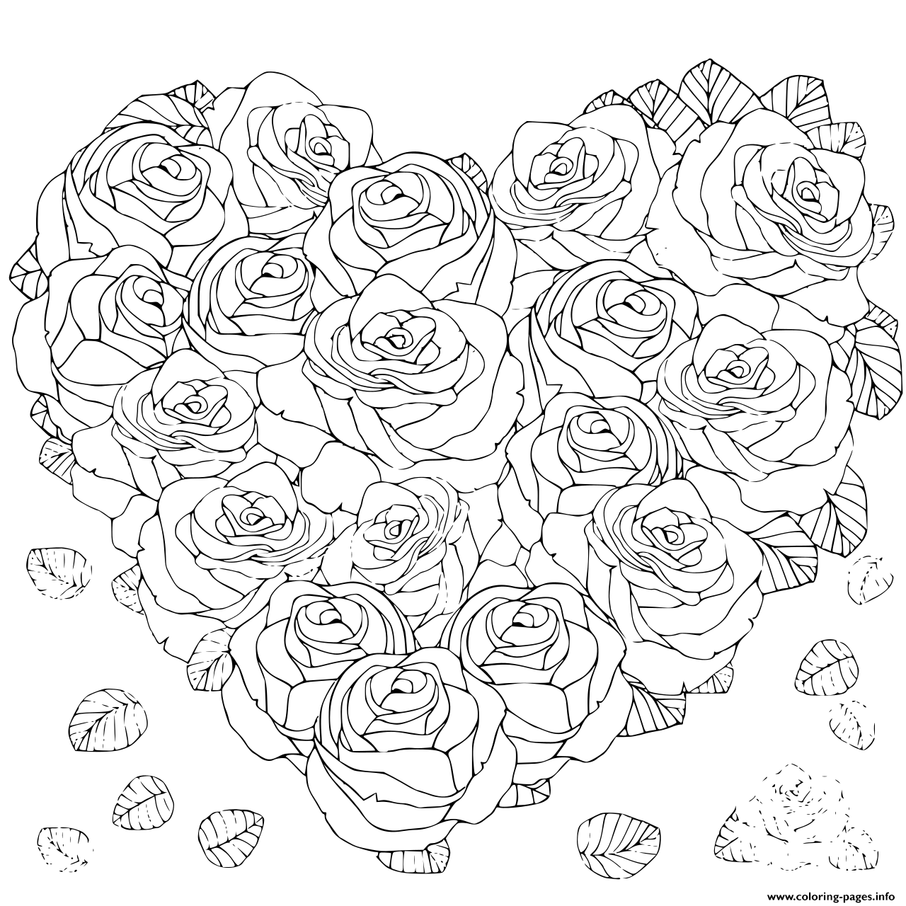 Roses and Hearts Coloring Pages - Best Coloring Pages For Kids | 1280x1280