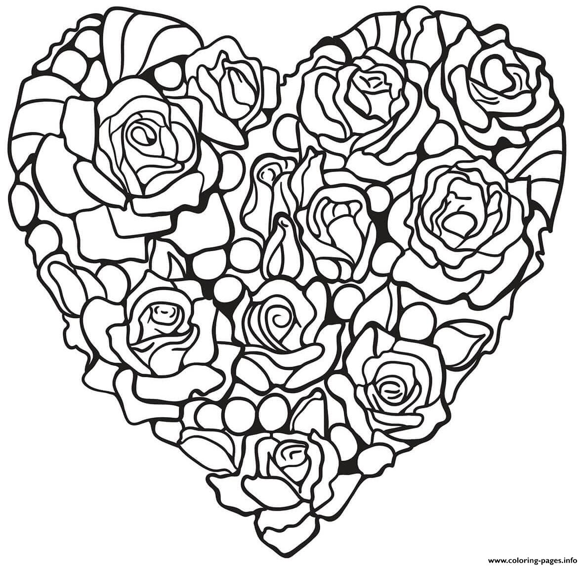Rosa Hear By Flowers And Roses coloring pages