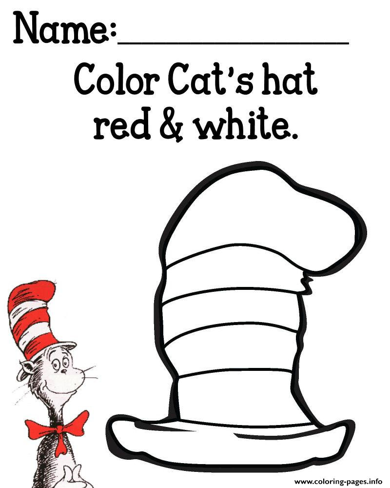Cat Hat Color Cats Red White Coloring Pages Printable