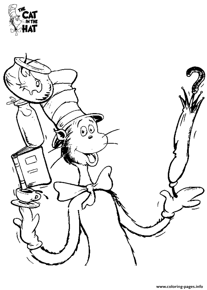 Cat In The Hat Sheet Coloring Pages Printable
