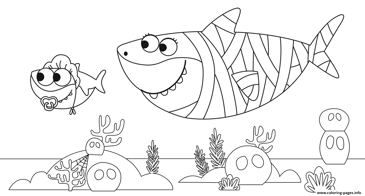 Baby Shark Halloweens Coloring Pages Printable