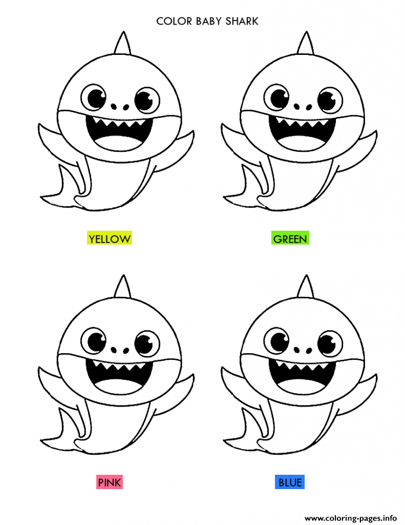 Baby Shark Color The Right Color Coloring Pages Printable