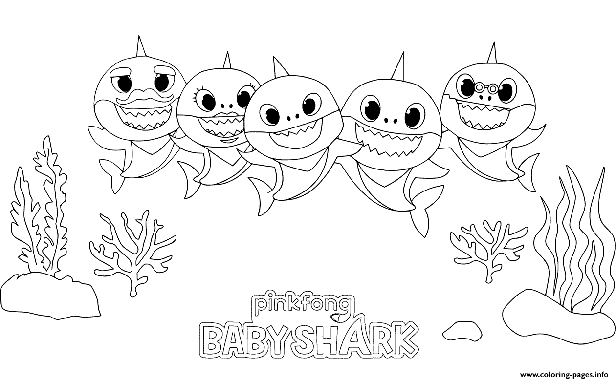 Baby Shark Party Time Kids Coloring Pages Printable