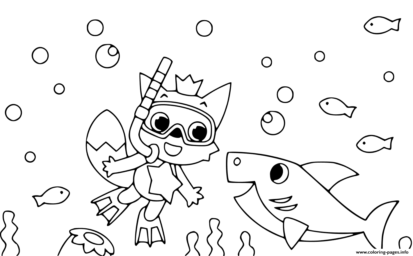 Baby Shark Coloring Page in 2020 | Shark coloring pages, Coloring ... | 880x1420
