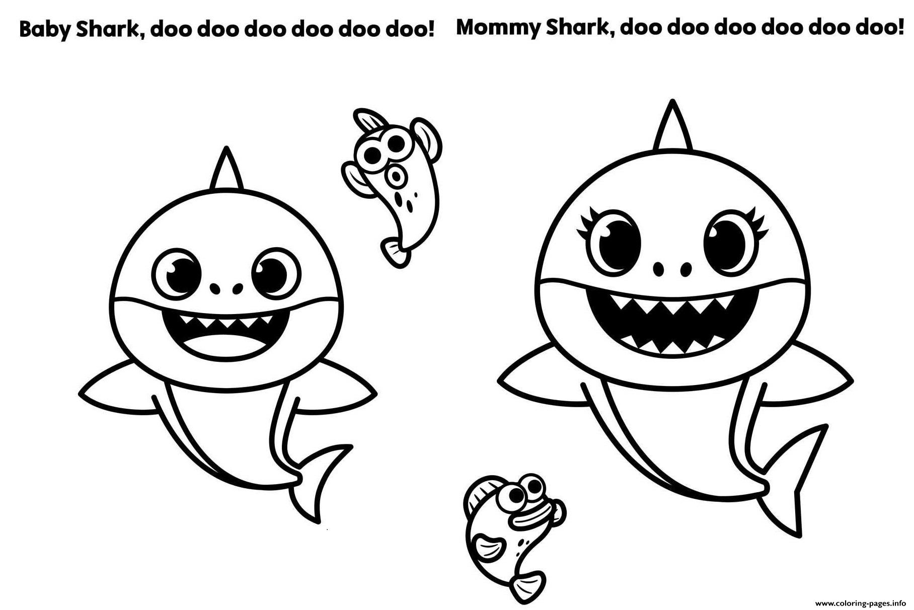 Baby Shark And Mommy Shark Coloring Pages Printable