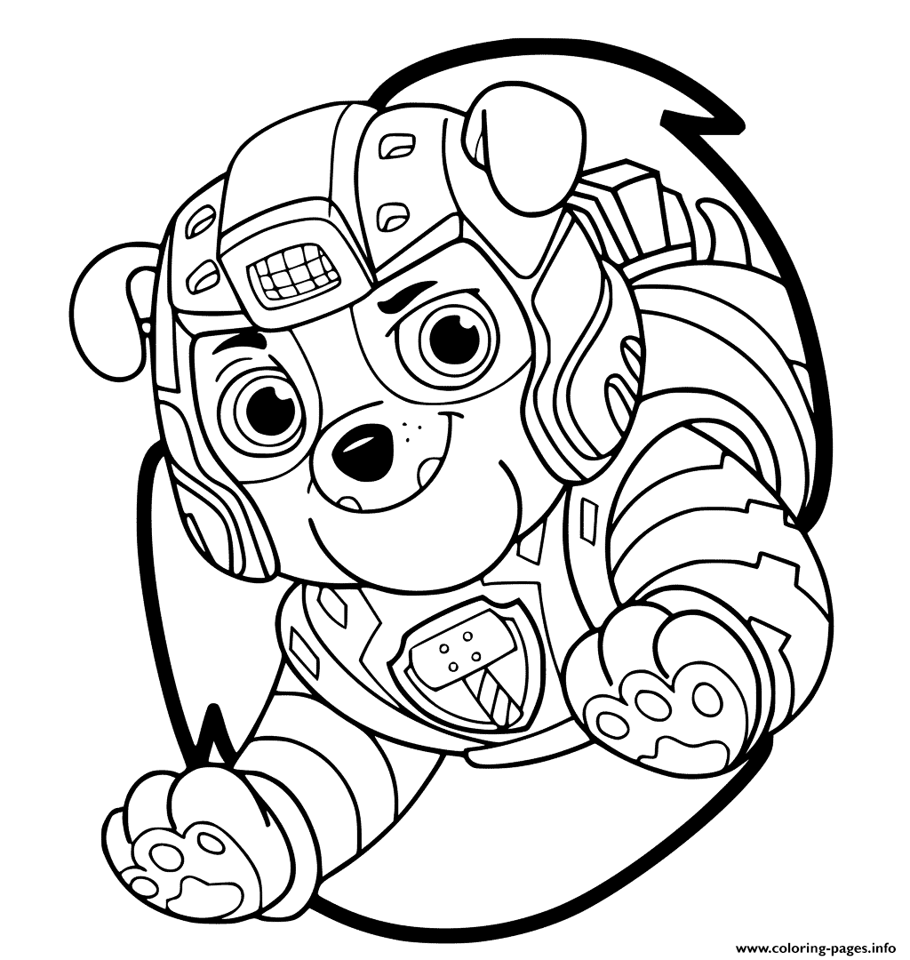 Mighty Pups Rubble Bulldog Coloring Pages Printable