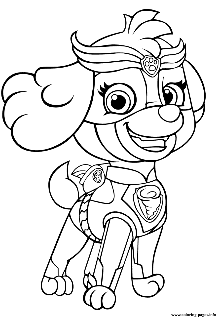 Paw Patrol Mighty Pups Skye For Girls Coloring Pages Printable