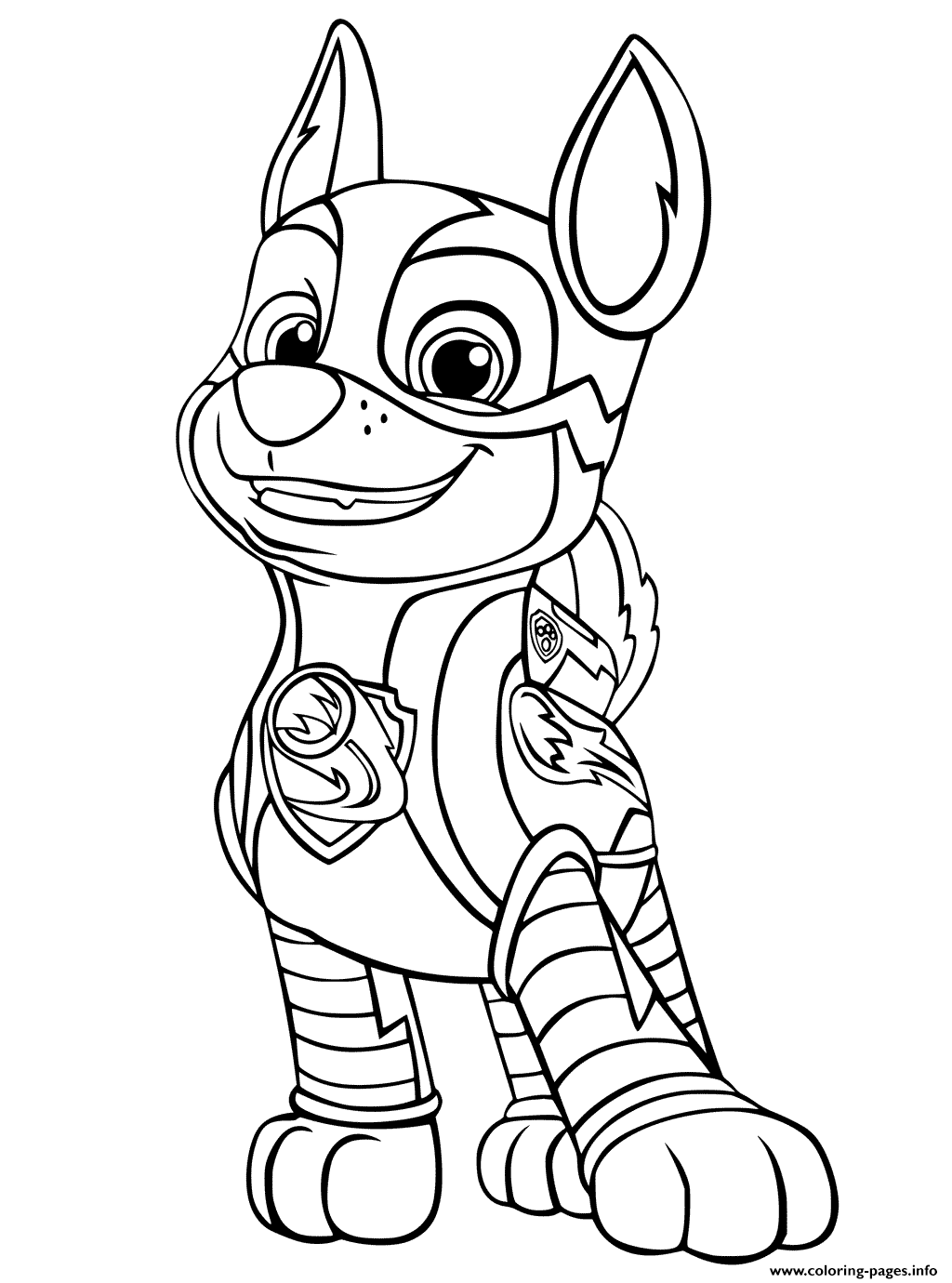Paw Patrol Mighty Pups Chase Coloring Pages Printable