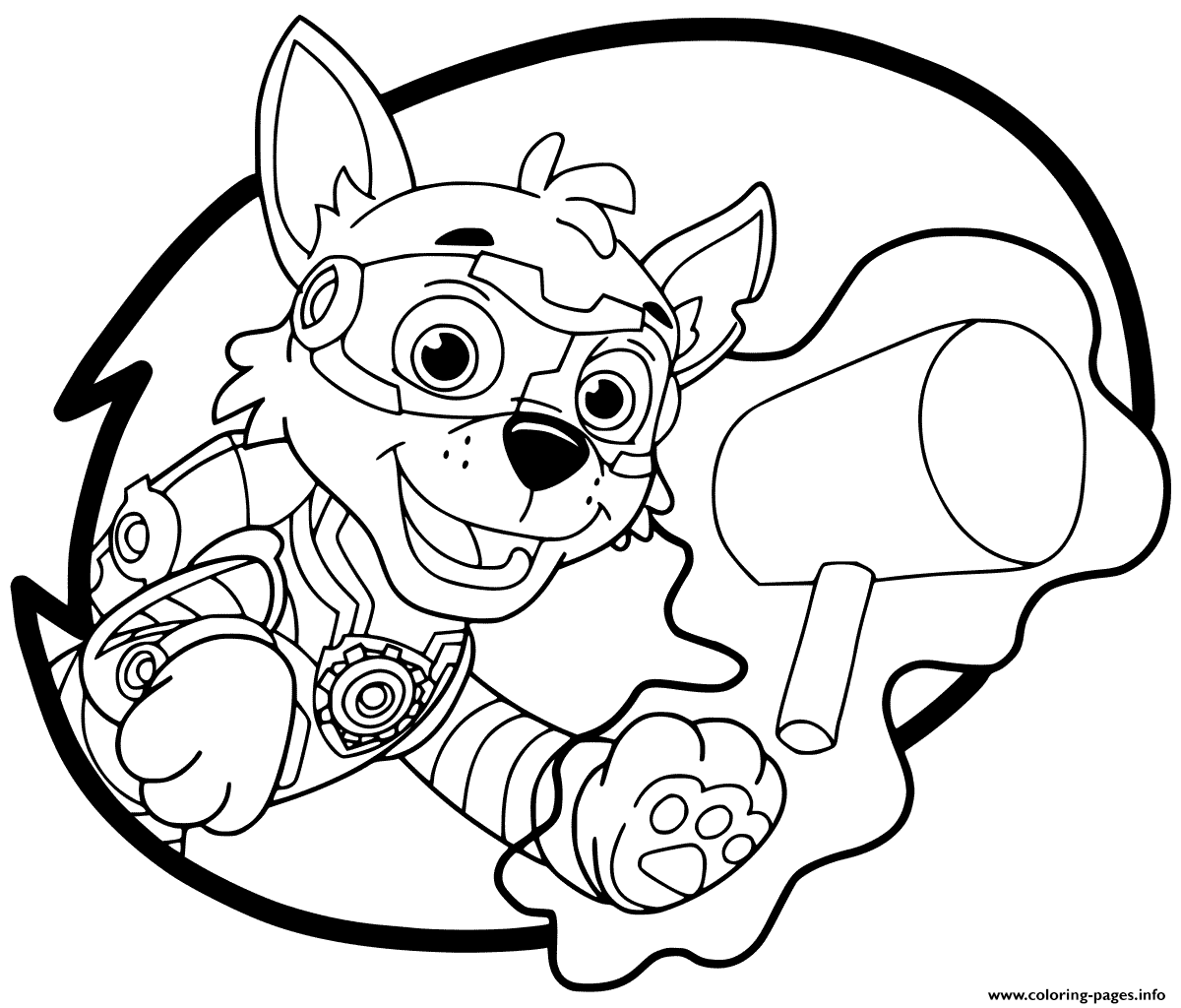 Mighty Pups Rocky Coloring Pages Printable