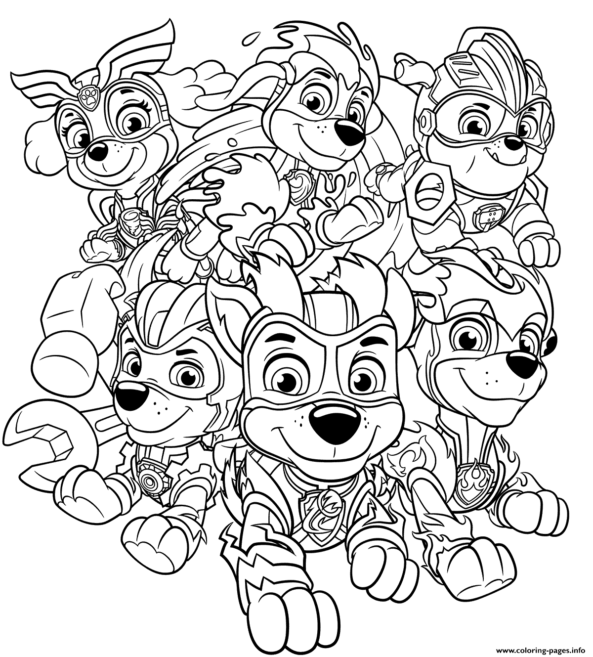 Mighty Pups Charged Up Coloring Pages Printable