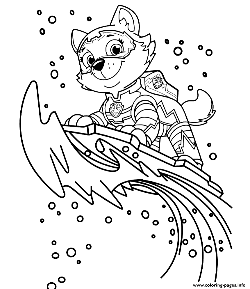 Mighty Pups Paw Patrol Everest Coloring Pages Printable