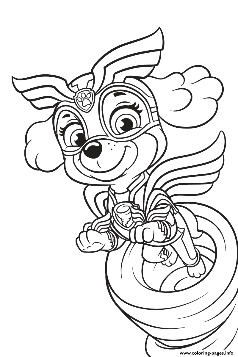 Mighty Pups Skye Coloring Pages Printable