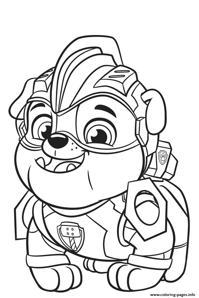 Paw Patrol Mighty Pups Rubble Coloring Pages Printable