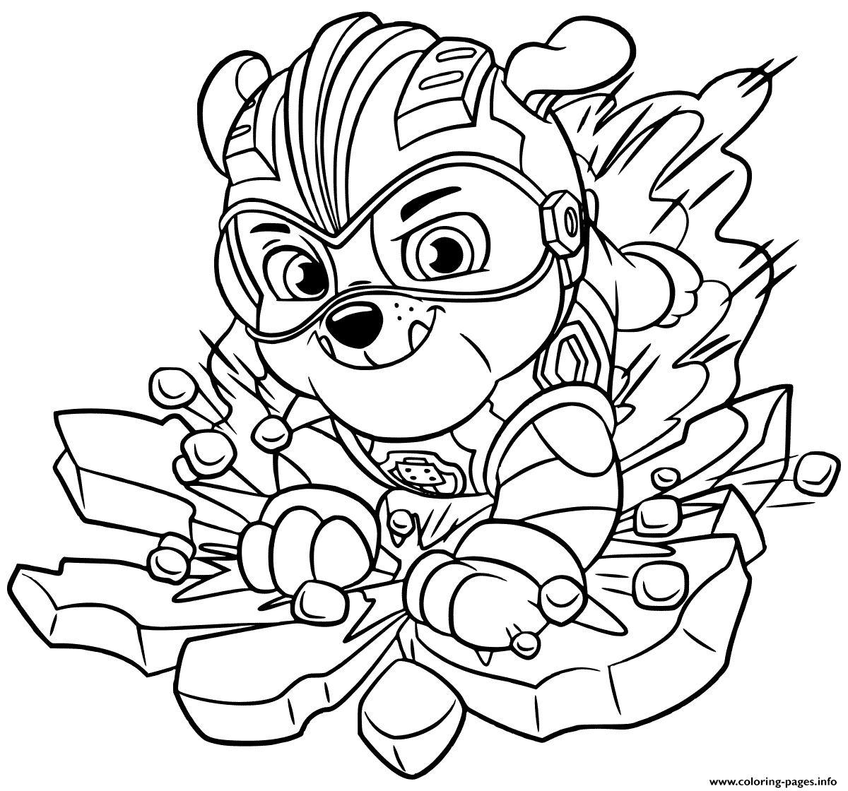 Mighty Pups Rubbles Coloring Pages Printable