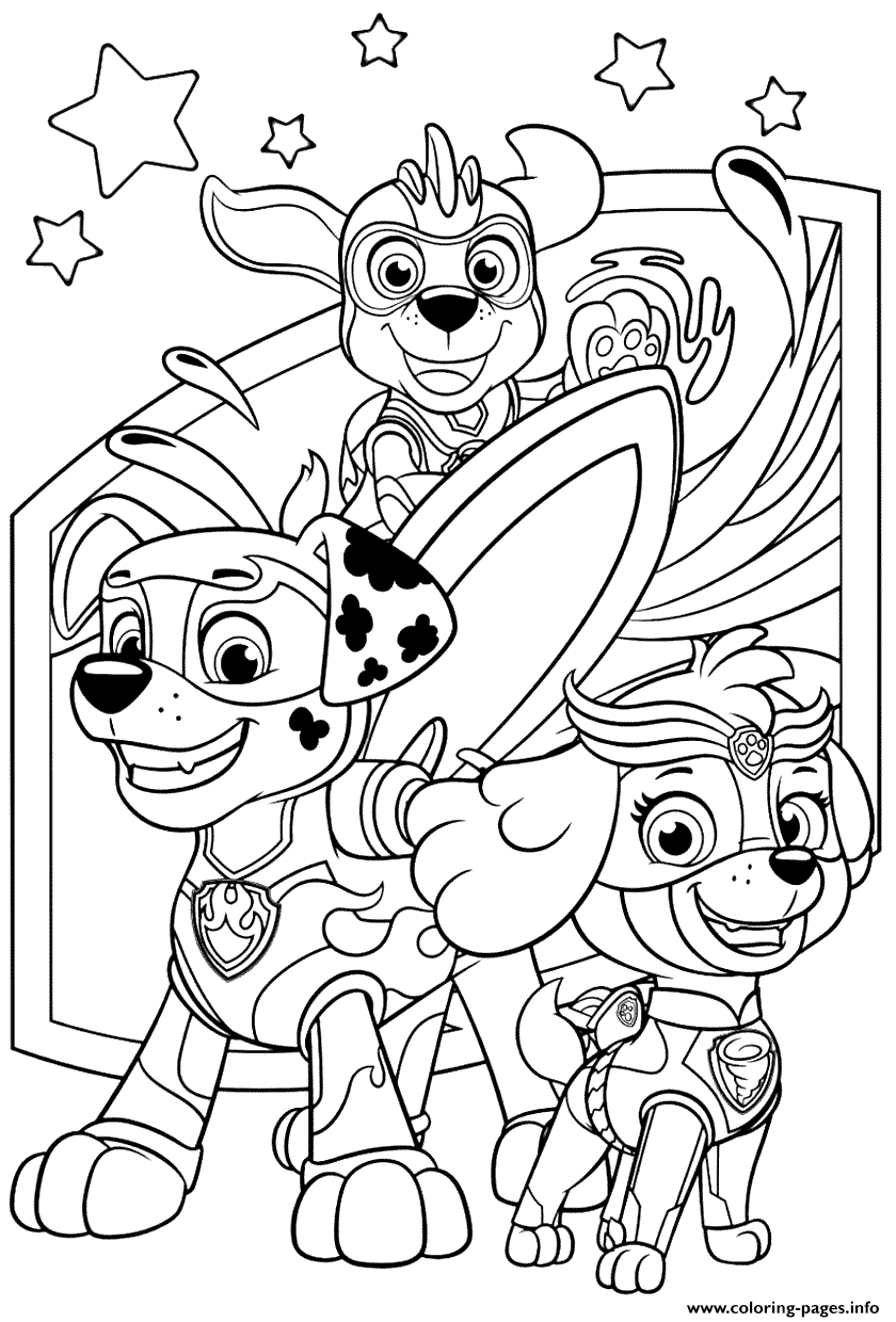 Print PAW Patrol Mighty Pups Coloring Pages Printable