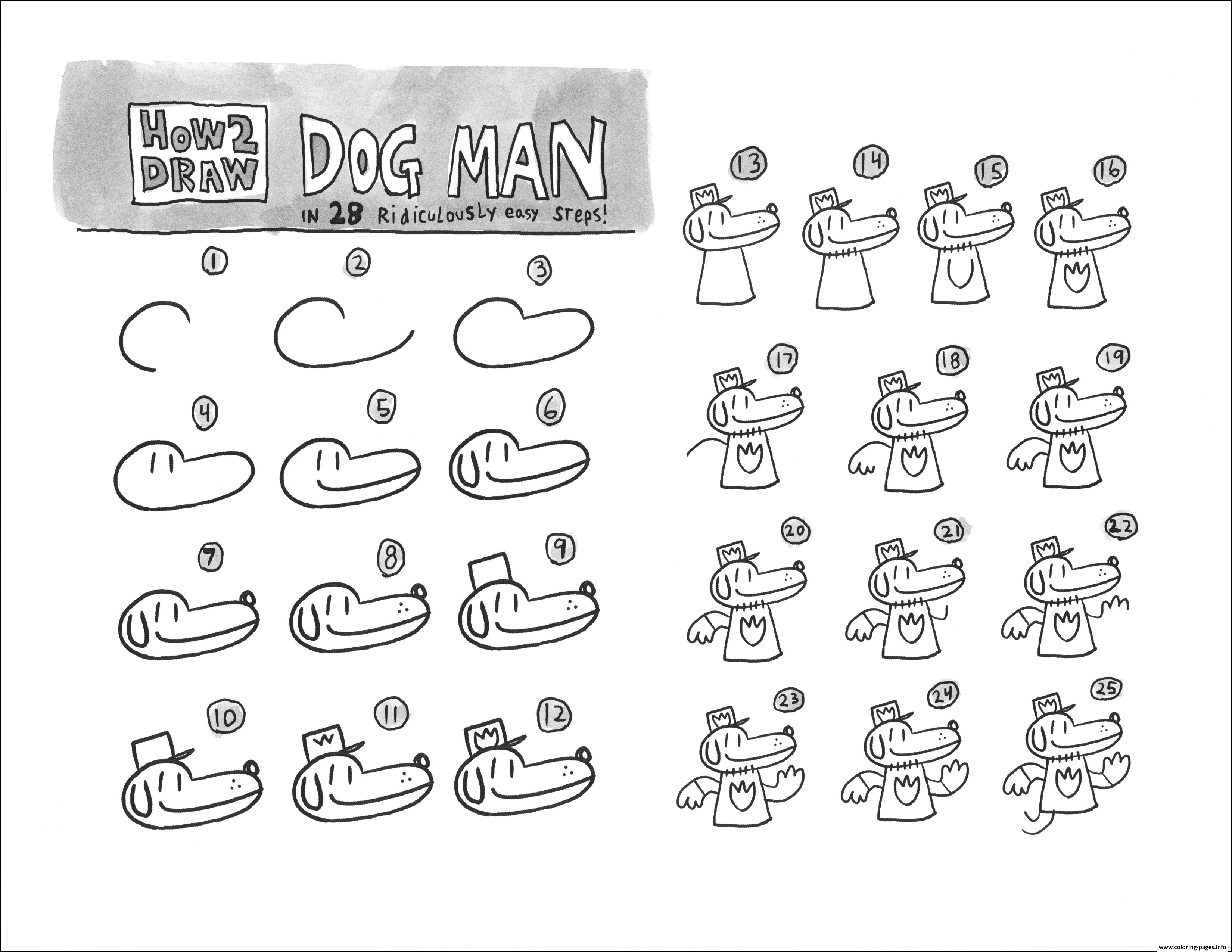 How To Draw Dog Man Step By Step Coloring Pages Printable