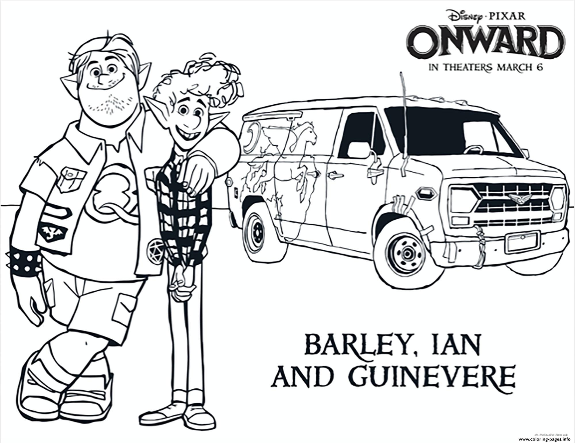 Onward Barley Ian And Guinevere coloring pages