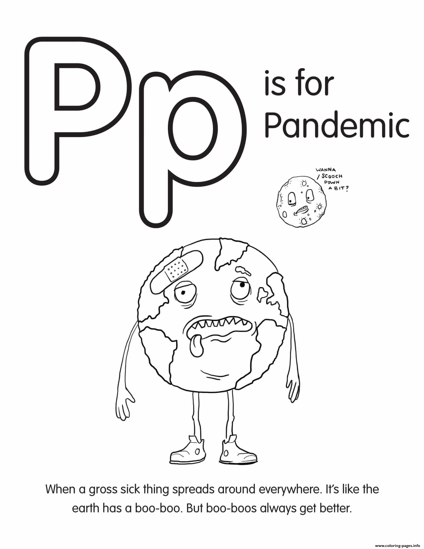 P Is For Pandemic Coloring Pages Printable