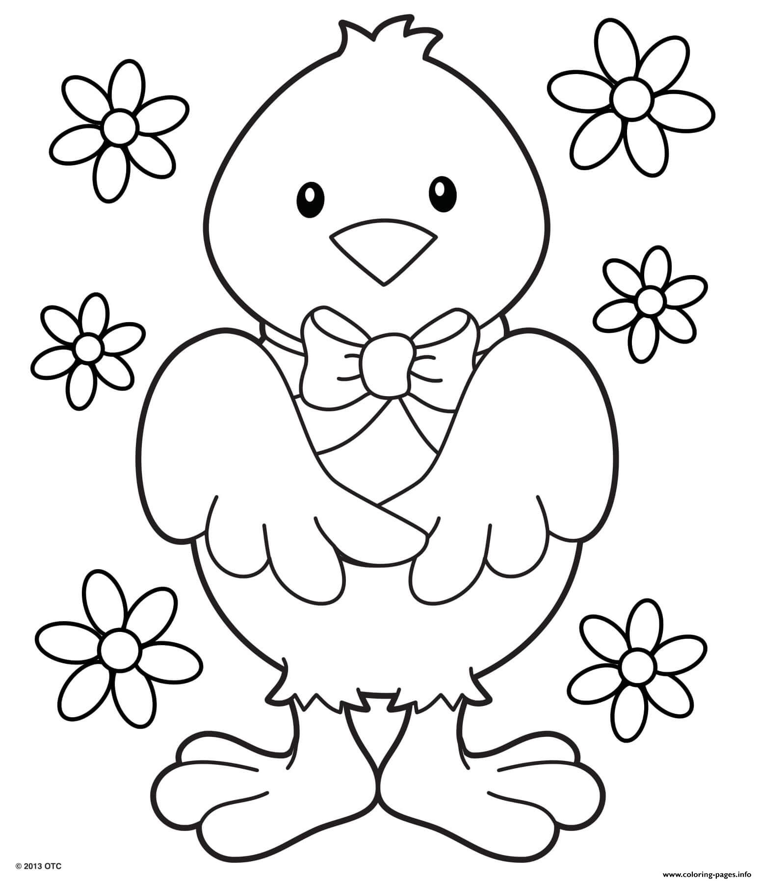 Chick With A Ribbon And Pretty Flowers Coloring Pages ...